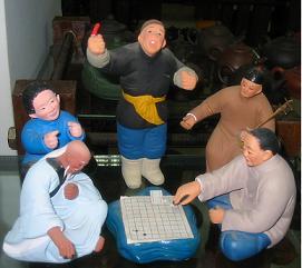 Керамические скульптуры игроков в го. Weiqi, Weichi, Go!!!