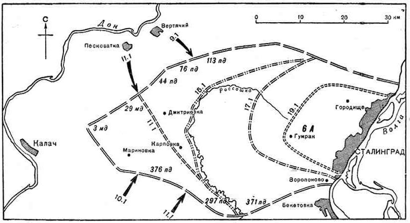 Хроника Второй Мировой войны. Схема крепости Сталинград